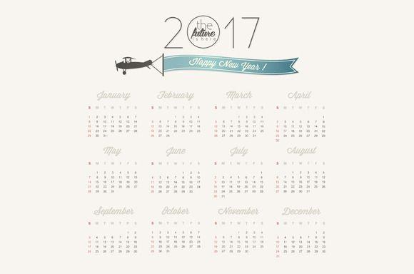 Vector calendar 2017 @creativework247 Graphics - Icons