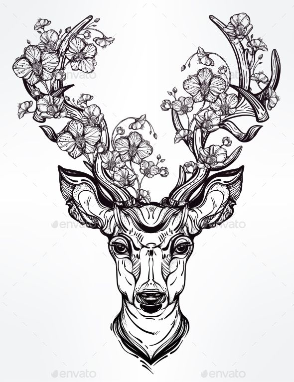 Line Drawing Tattoo Designs : Deer head with flowers in line art style more styles