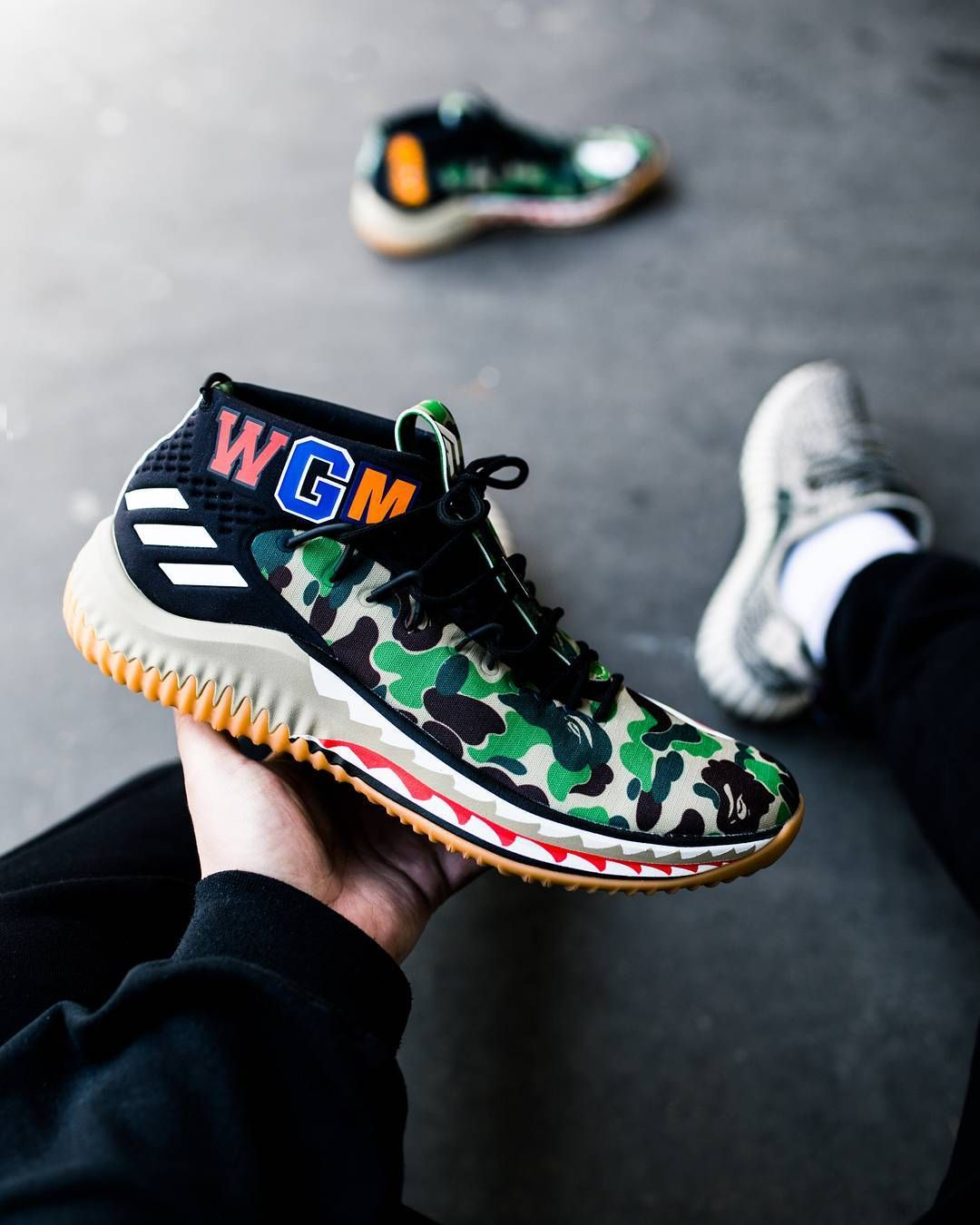 separation shoes 757a2 9444b Release Date  February 17, 2018 Adidas x A Bathing Ape Dame 4 Green Camo  Credit  The Good Will Out