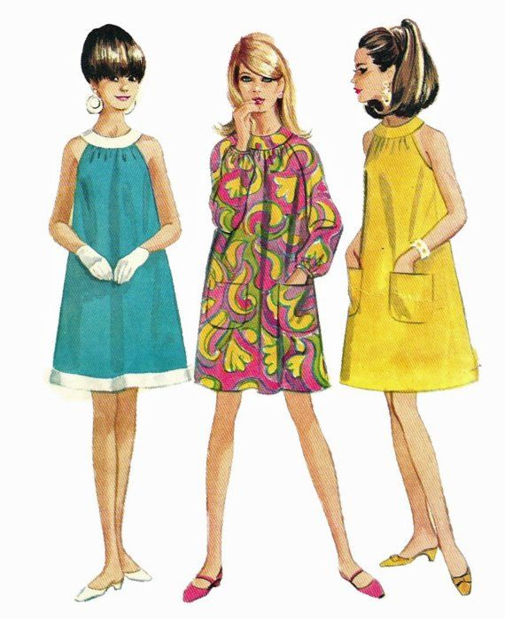 Vintage 60s Mod A Line Dress Pattern in Three Versions McCalls 8706 ...