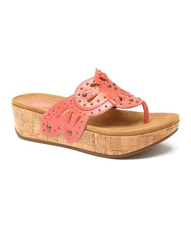 ffc065d2626e66 Look at this  zulilyfind! Coral Palima Palm Leather Sandal ...