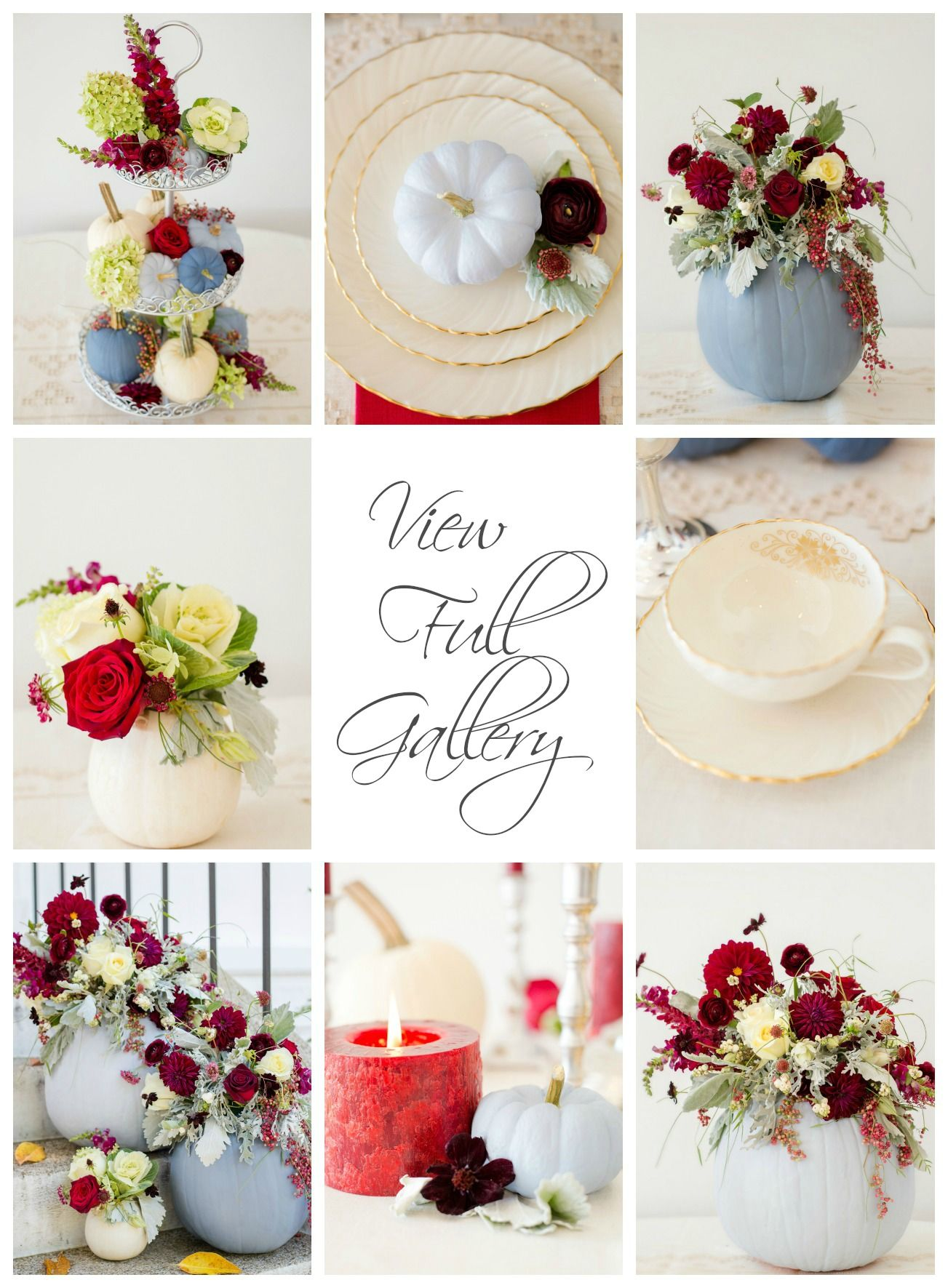 Dusty Blue and Cranberry Fall Tablescape. photo by Lisa Price Photography | Design by LB Floral and Haley at The Bride Link | Flowers by LB Floral