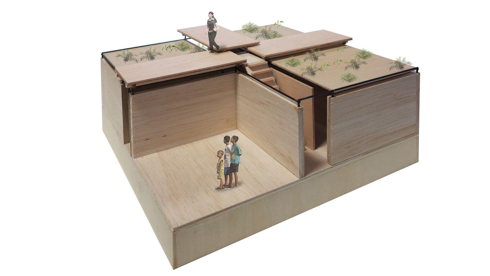 Escuelas modulares de andamios y arena permiten educar a los niños refugiados en Jordania,Maqueta