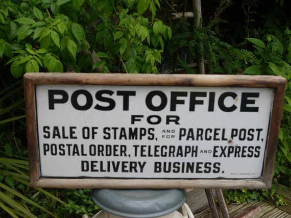 CUSTOM LISTING DONN Vintage Enamel Advertising sign - Post Office