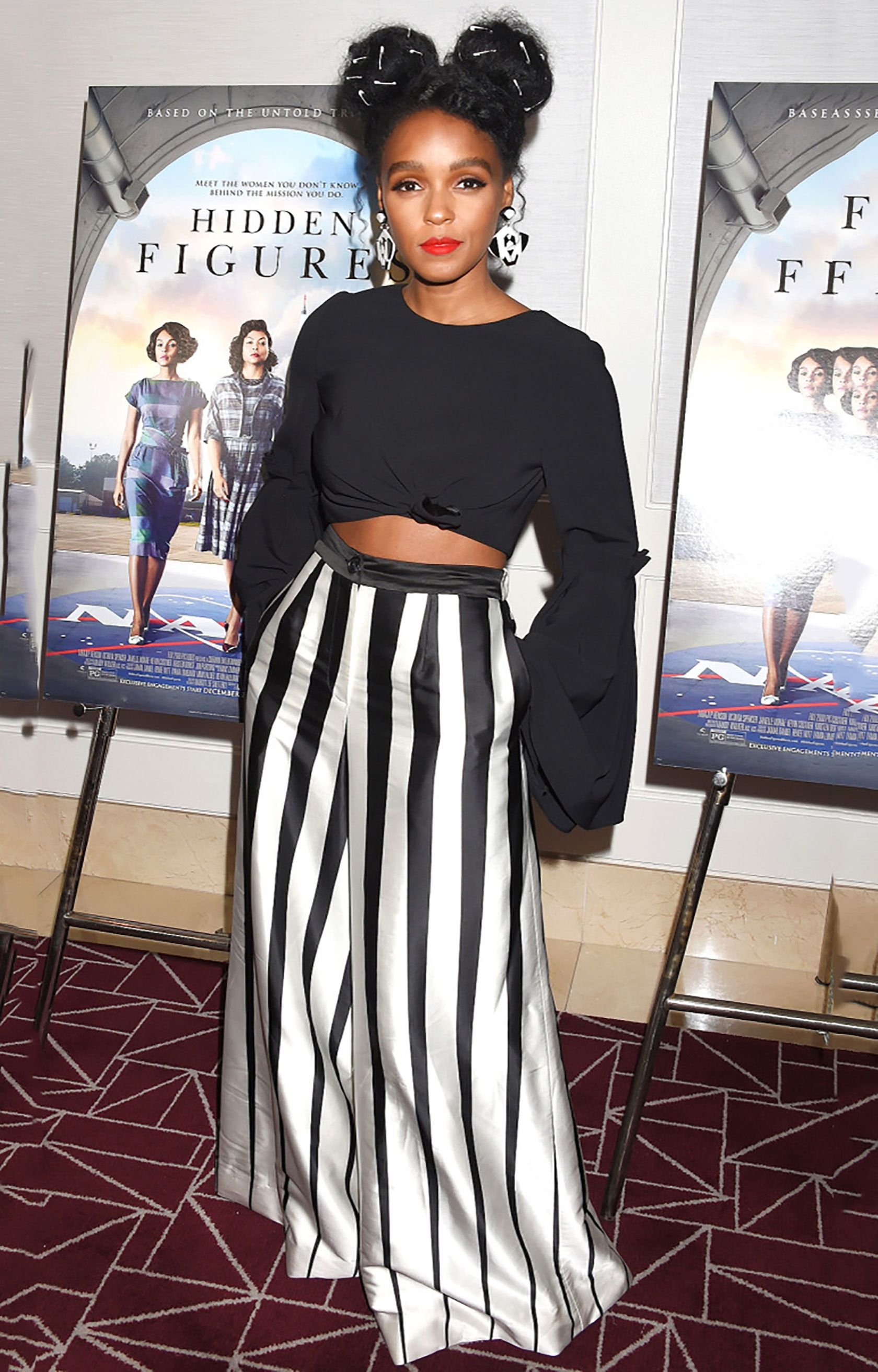 Janelle monaes black white stripe style celebrity fashion