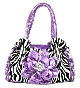 Purple Zebra Print Flower Western Rhinestone Purse Handbag Ebay