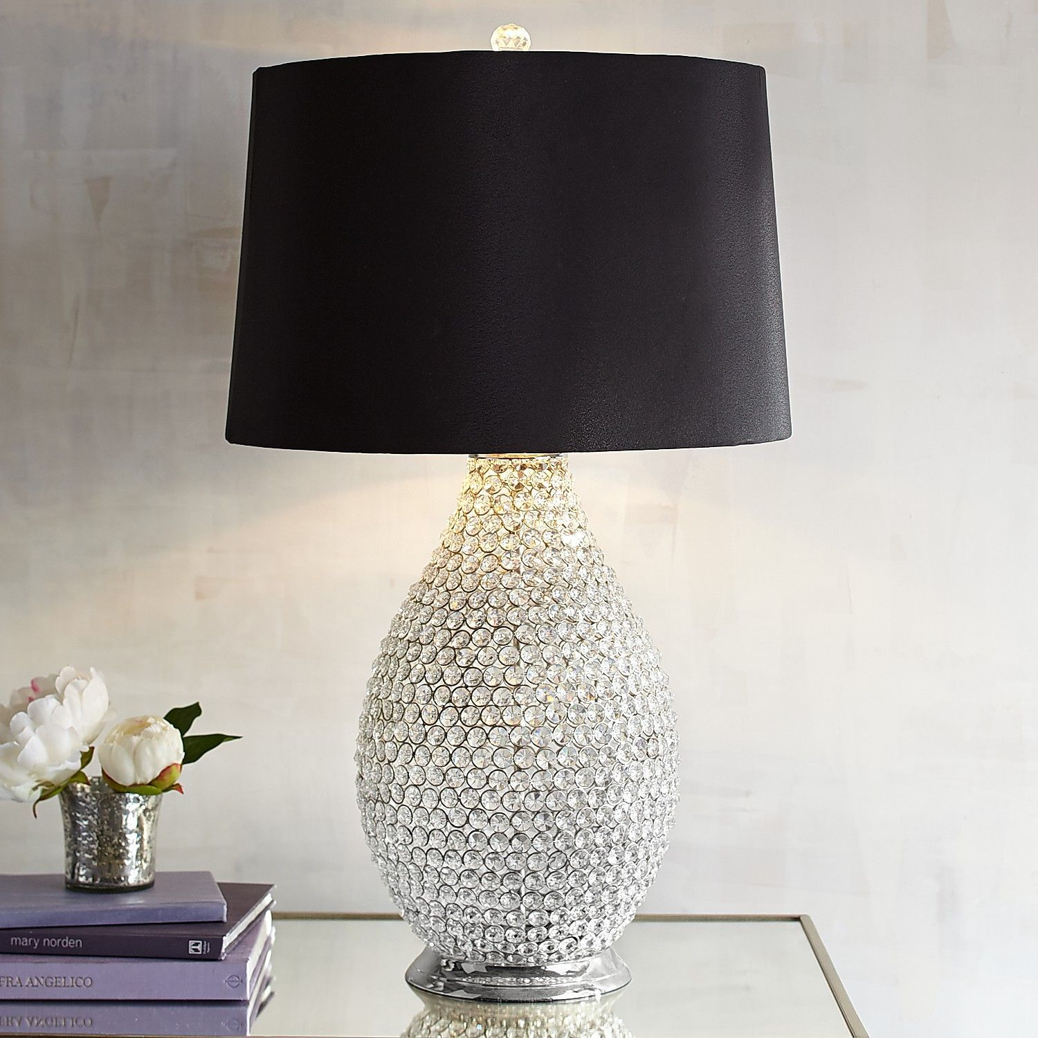 Black Crystal Bead Table Lamp Beaded Lamps Unique Lamps