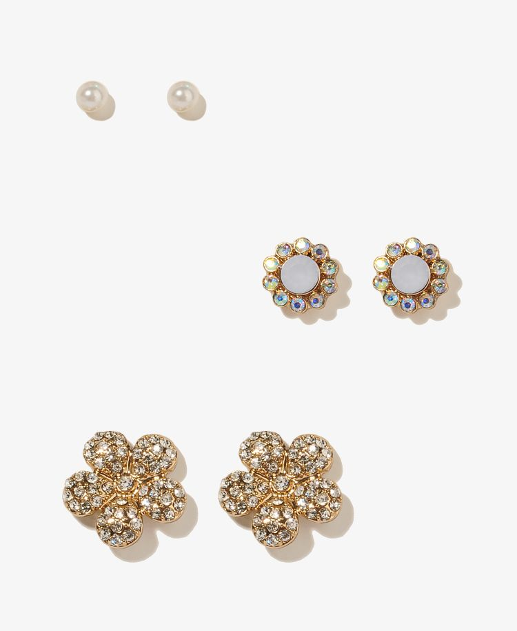 Glitzy Flower & Pearlescent Stud Set | FOREVER21 - 1030187299