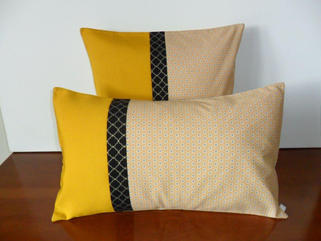 housse coussin inspiration japonaise jaune et noir textiles et tapis par michka. Black Bedroom Furniture Sets. Home Design Ideas