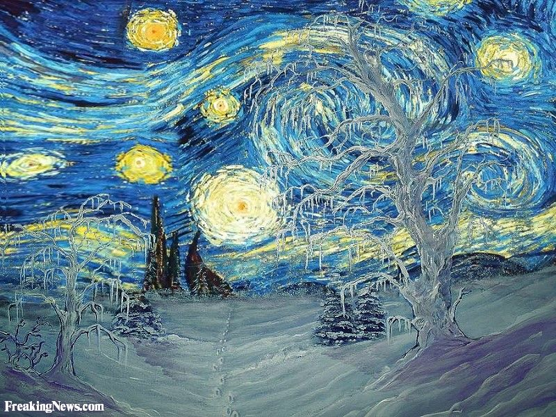 Starry Night In Winter By Van Gogh Starry Night Painting Starry