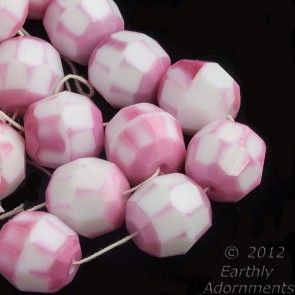 Vintage opaque milk white faceted rounds with pink frosting.  10mm.  West Germany.  Package of 6. b11-pp-1220(e)