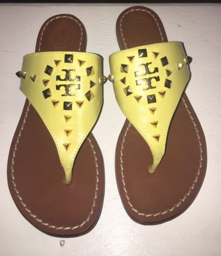 842373b6dcc4 Tory Burch Yellow Dale Studded Thong Sandal Size 6