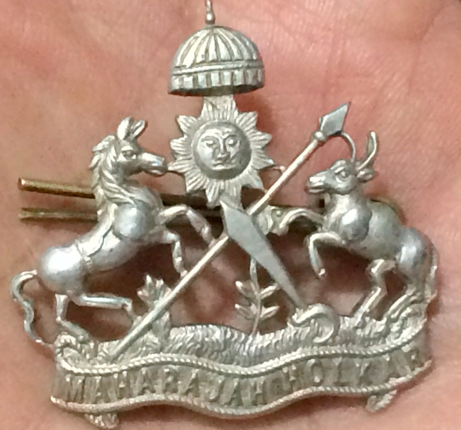 1900s old sterling silver brooch with state symbol maharaja 1900s old sterling silver brooch with state symbol maharaja holkar in antiques asian antiques biocorpaavc Images
