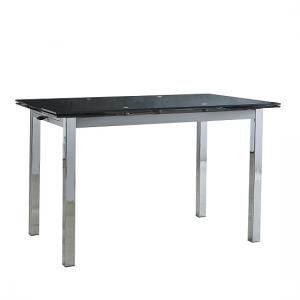 Carey Extendable Glass Dining Table Rectangular In Black Ebay Set Round