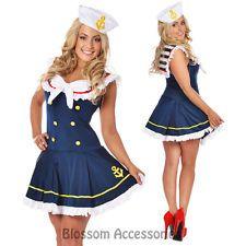 F96 Navy Sailor Girl Uniform Ladies Rockabilly Pin Up Fancy Dress Costume & Hat