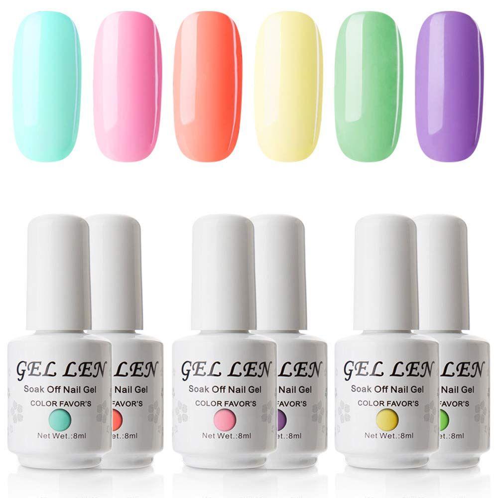 Gellen Gel Nail Polish Set Sweet Candy Series Neon 6 Colors