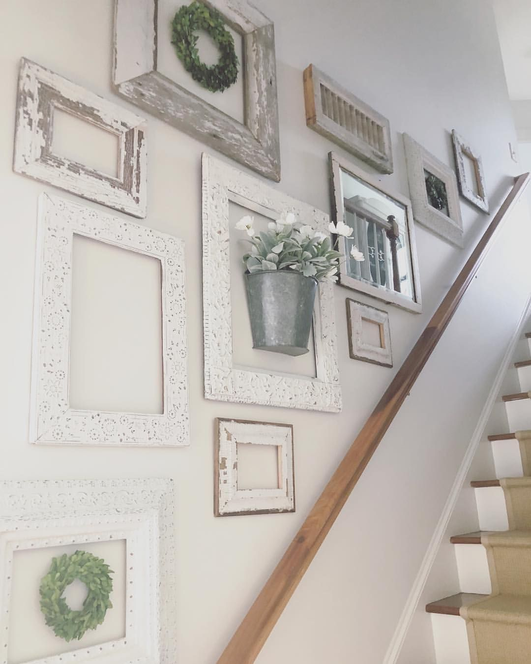 Staircase Walls Are Sometimes The Hardest To Decorate Grouping Like Items Together And Keeping Staircase Wall Decor Decorating Stairway Walls Stair Wall Decor