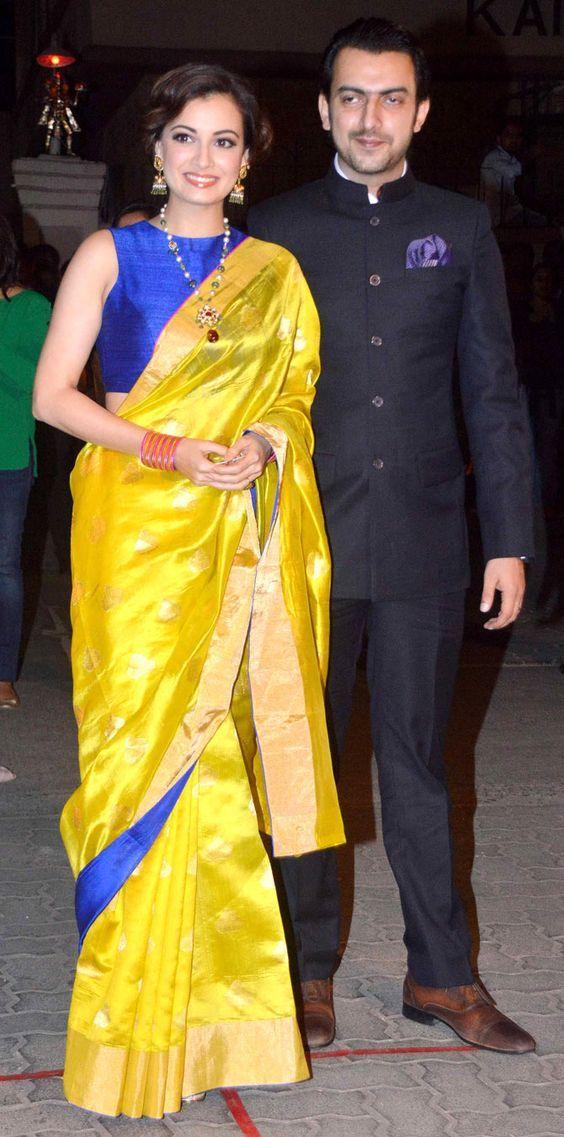 Diya Mirza in yellow silk saree | Saree blouse designs, Indian ...