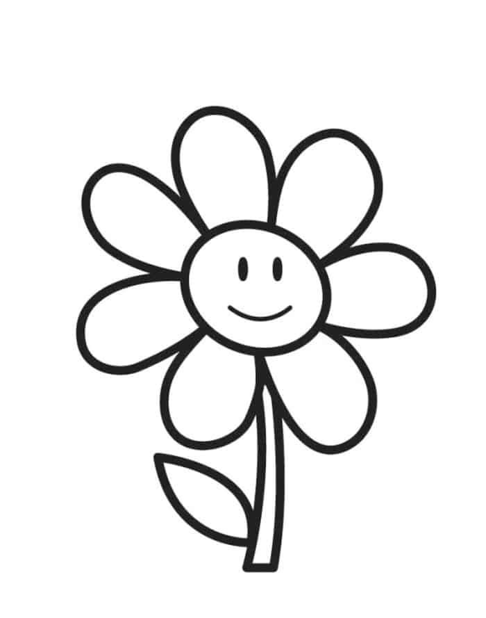 Happy Sunflower Coloring Pages In 2020 Printable Flower Coloring Pages Flower Coloring Sheets Kindergarten Coloring Pages