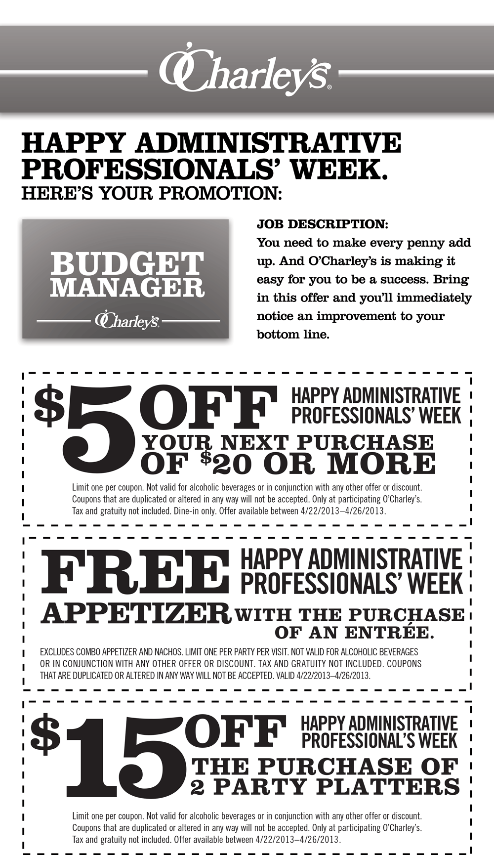 O'Charley's has a great new coupon available. Print out this coupon for 20% off your purchase this Memorial Day weekend. This coupon expires on Monday, so .