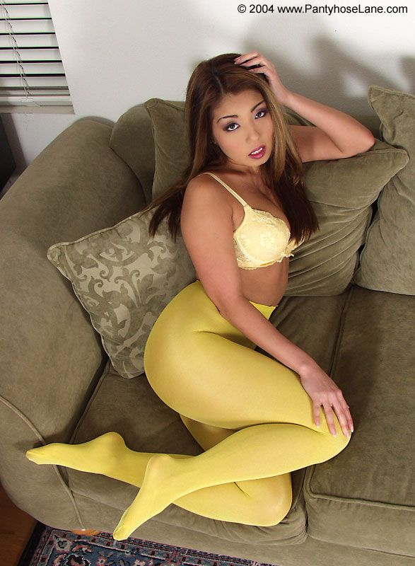 770ce29694bcb Sexy.. | Yellow Pantyhose | Pantyhose heels, Yellow tights, Silk ...