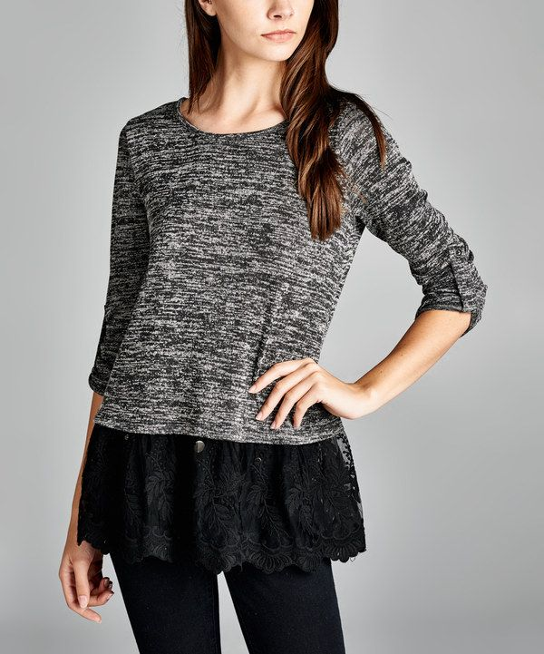 Look at this Love, Kuza Black Lace-Hem Roll-Tab Sleeve Top on #zulily today!
