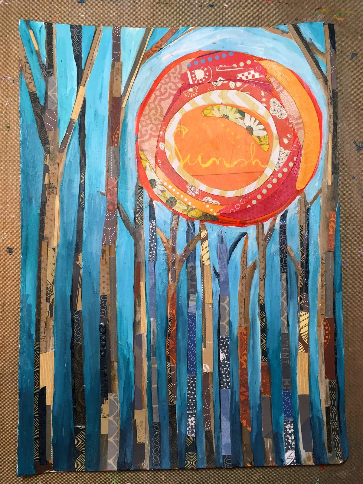 Mixed Media Painted Paper Collage By Gwen Lafleur Using