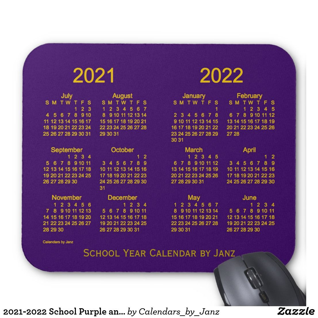 20212022 School Purple and Gold Calendar by Janz Mouse