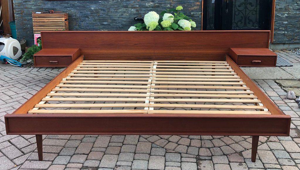 Refinished Mcm Teak Platform Bed King Size With Floating Night
