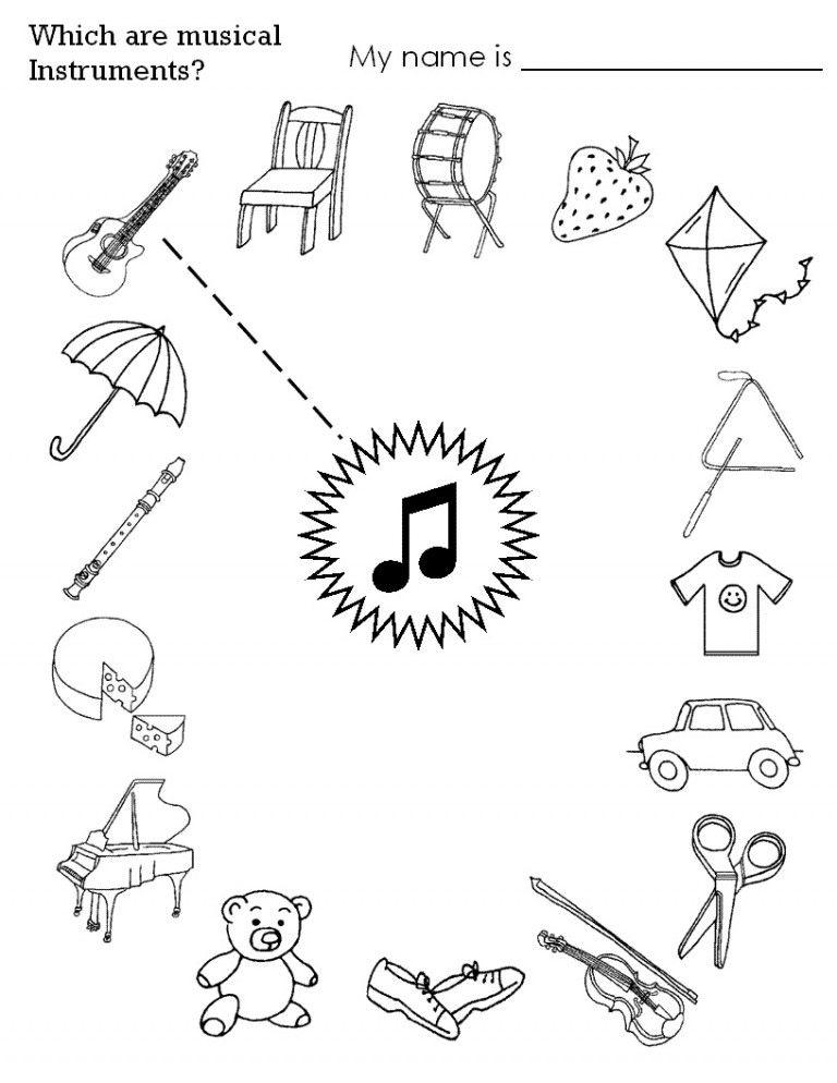 Instrument Worksheets For Kids Crafts And Worksheets For Preschool Toddler And Kindergarten Kindergarten Music Music Worksheets Music Theory Worksheets