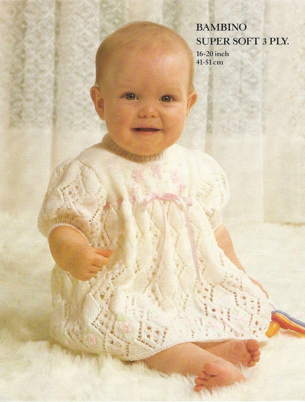 "Vintage Knitting Pattern Baby Girl Dress Matinee Coat 16-20/"" Newborn 12 m DK"
