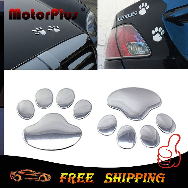 Cool design paw car sticker 3d dog cat foot print 3m red
