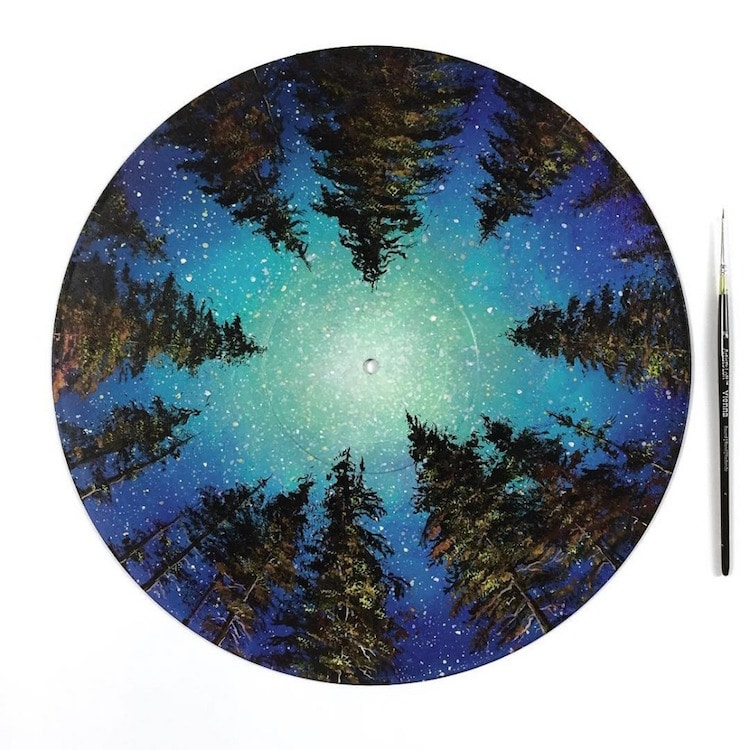 Artist Paints the Magnificence of Mother Nature on Vinyl Records