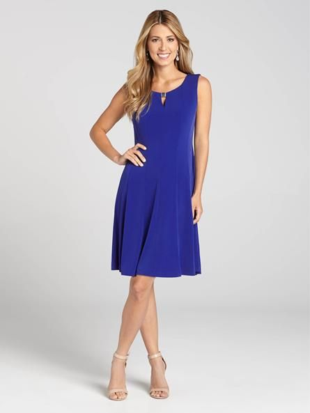 """Laura Petites: for women 5' 4"""" and under. Turn heads this Spring in this lovely electric blue sleeveless jersey dress. The keyhole neck with metal bar, the panelled skirt and the fit-and-flare silhouette all give this dress a unique flair....4010101-0583"""