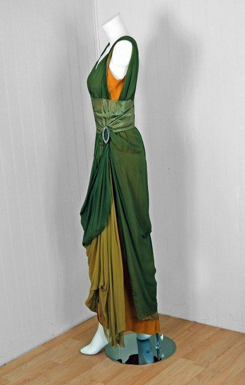 1910s Sage-Green & Golden Silk Chiffon Asymmetric Draped Gown side view