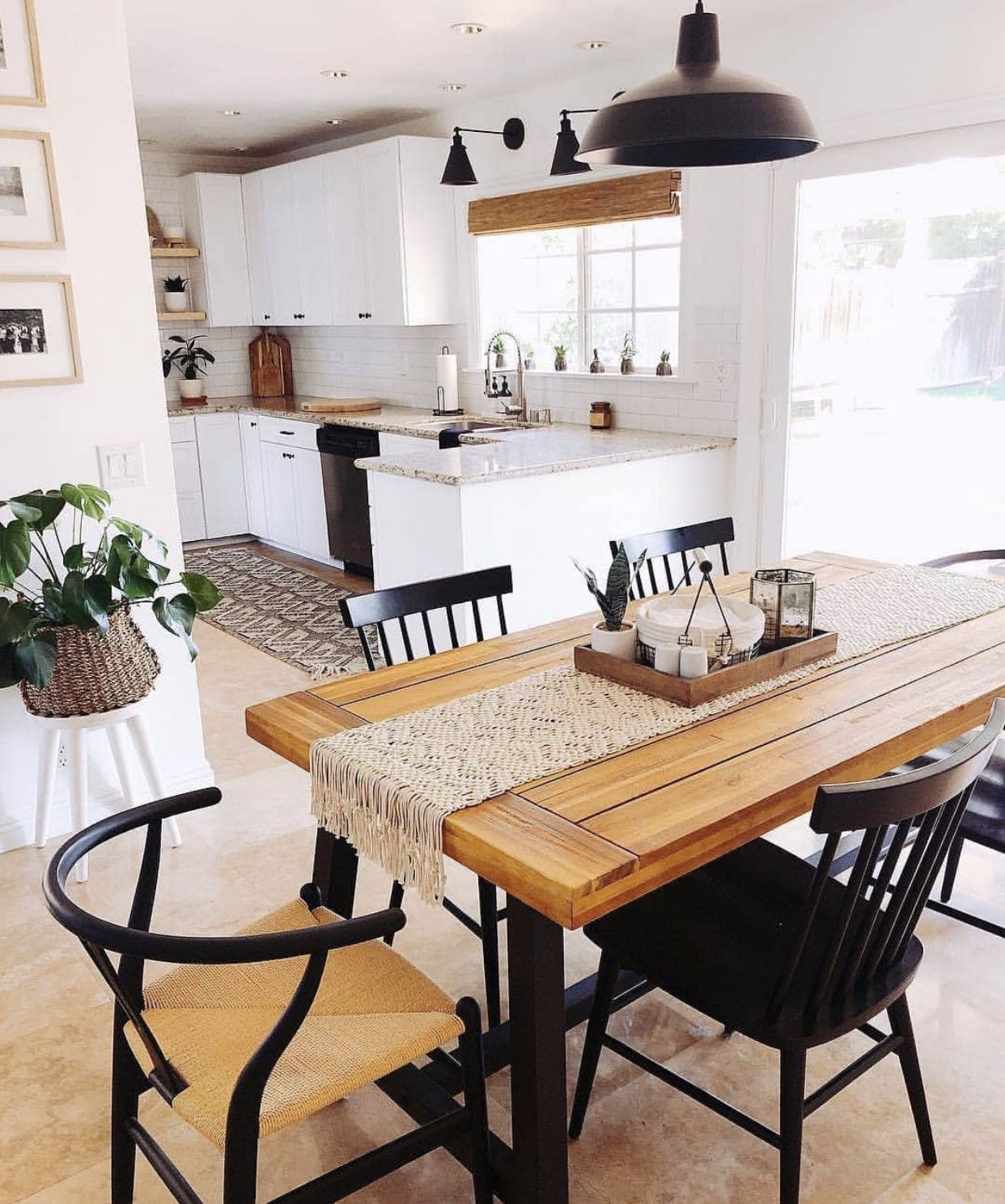 Black Brown And White Dining Table Modern Boho Kitchen Home Decor Kitchen Remodel