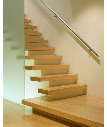Partial cantilevered stairs...risers match walls to hide ...