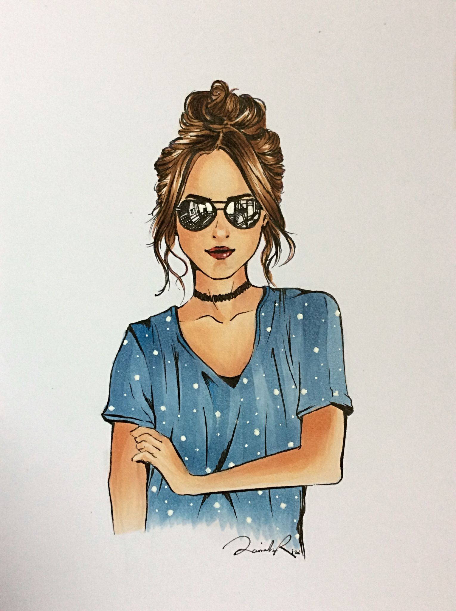 Copic drawing by me art girl sunglasses messy bun