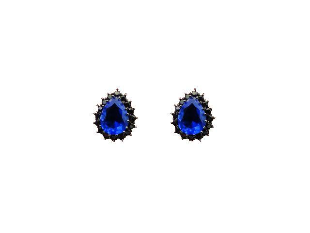 Brinco gota zircônia azul e preta - B098 - Bordot