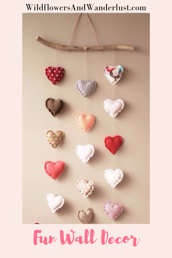 Fun wall hangings to decorate your space, make it a little boho or use it for a holiday or party! WildflowersAndWanderlust.com #bohostyle #heart #walldecor