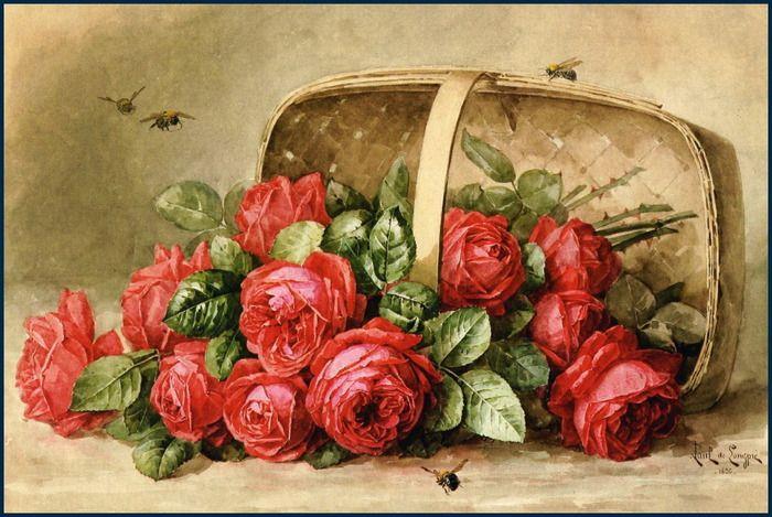 "Raoul Paul M. De Longpre - ""Red roses"""