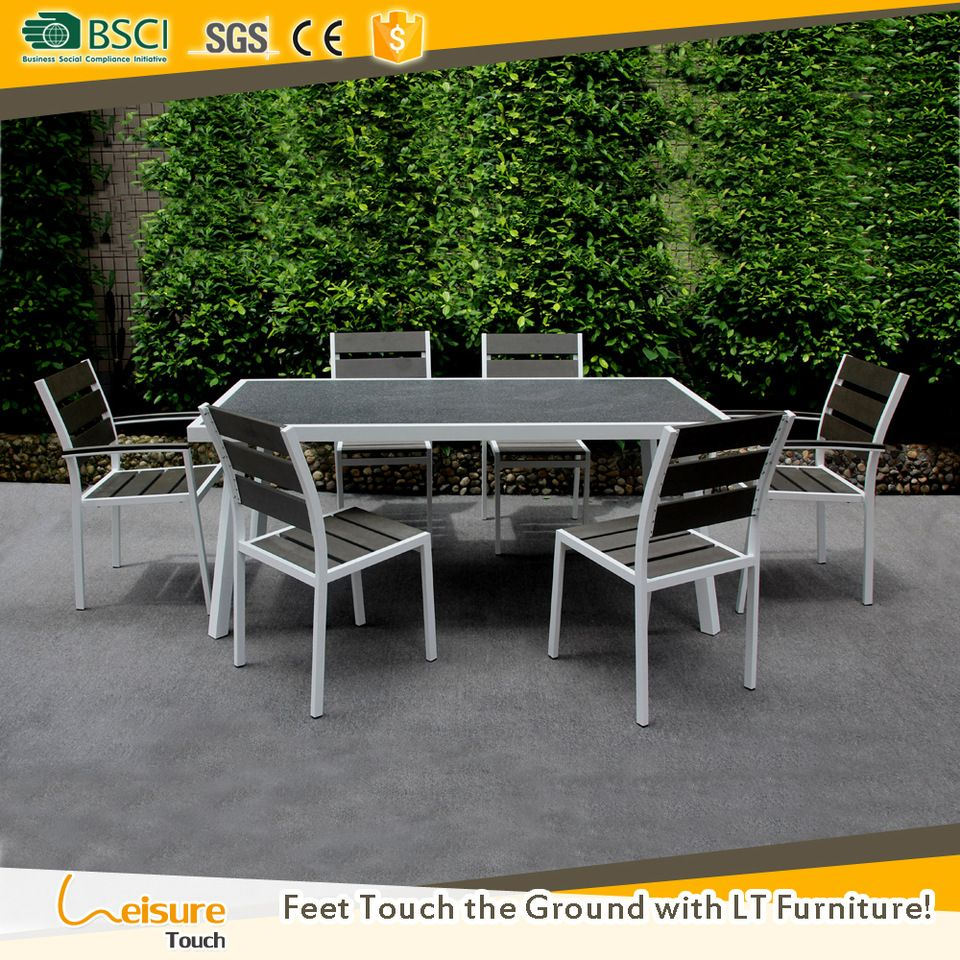 Hot sales garden dining table and arm less chair for 6 set used patio plastic wood outdoor dinner furniture