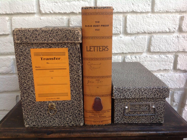 Vintage Antique Cardboard File Box Collection Office Desk