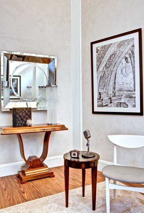 dekorieren im art deco stil luxus wohnung, art-deco dekorieren holzboden belag hocker-spiegel rahmenwerk, Design ideen