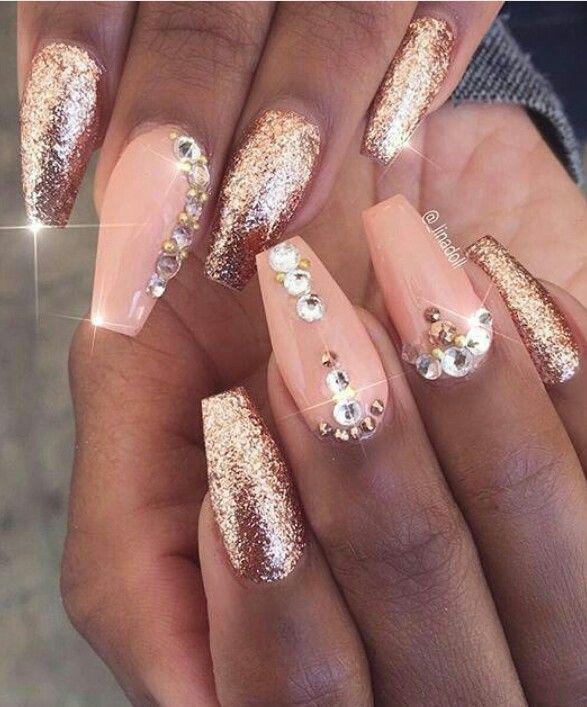 Pink glitter gold glitz glam nails art design @_linadoll - Pink Glitter Gold Glitz Glam Nails Art Design @_linadoll Nails