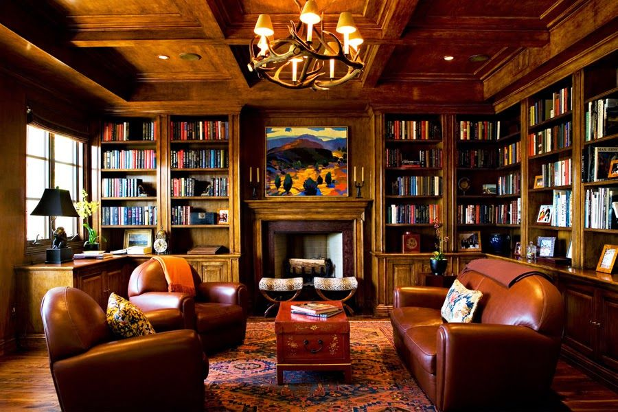 Things We Love Paneled Studies  Design Chic is part of Home library - Sting and Trudie Tyler's Home via Architectural Digest We're not saying we don't love a room dripping in glamour and fit for a queen  Gluckstein Design But, every now and again, it's nice to have a man's room, a space in the home that begs for cigars and brandy and animal skins   Harrison Design Associates When …