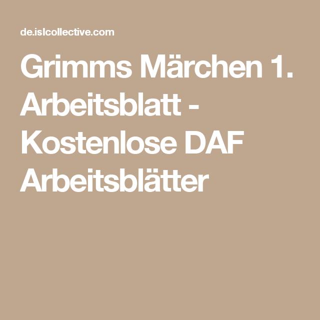 Grimms Märchen 1. Arbeitsblatt - Kostenlose DAF Arbeitsblätter ...