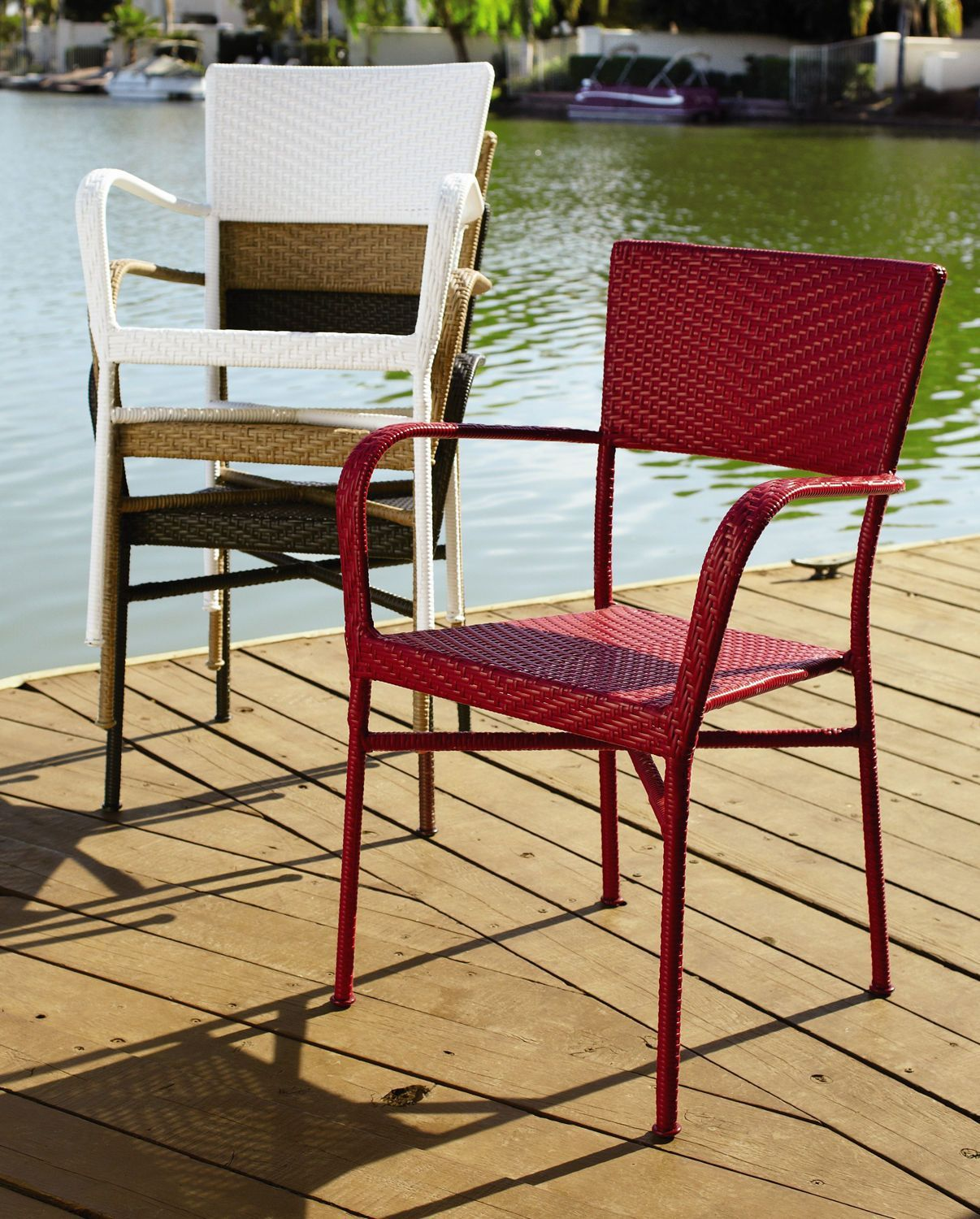 Del Rey Light Brown Stacking Chair | Wicker armchair ...