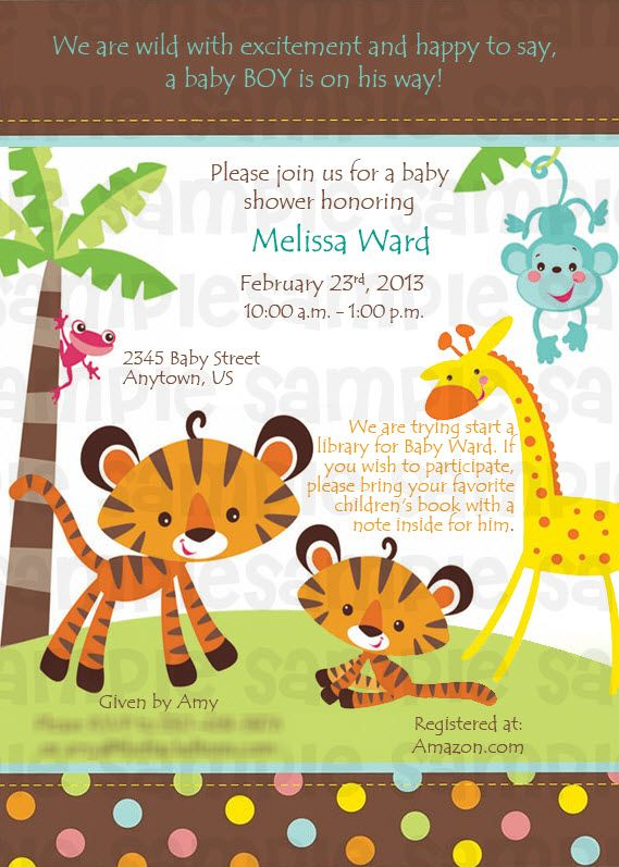 fisher price rainforest safari baby shower digital invitation $11, Baby shower invitations