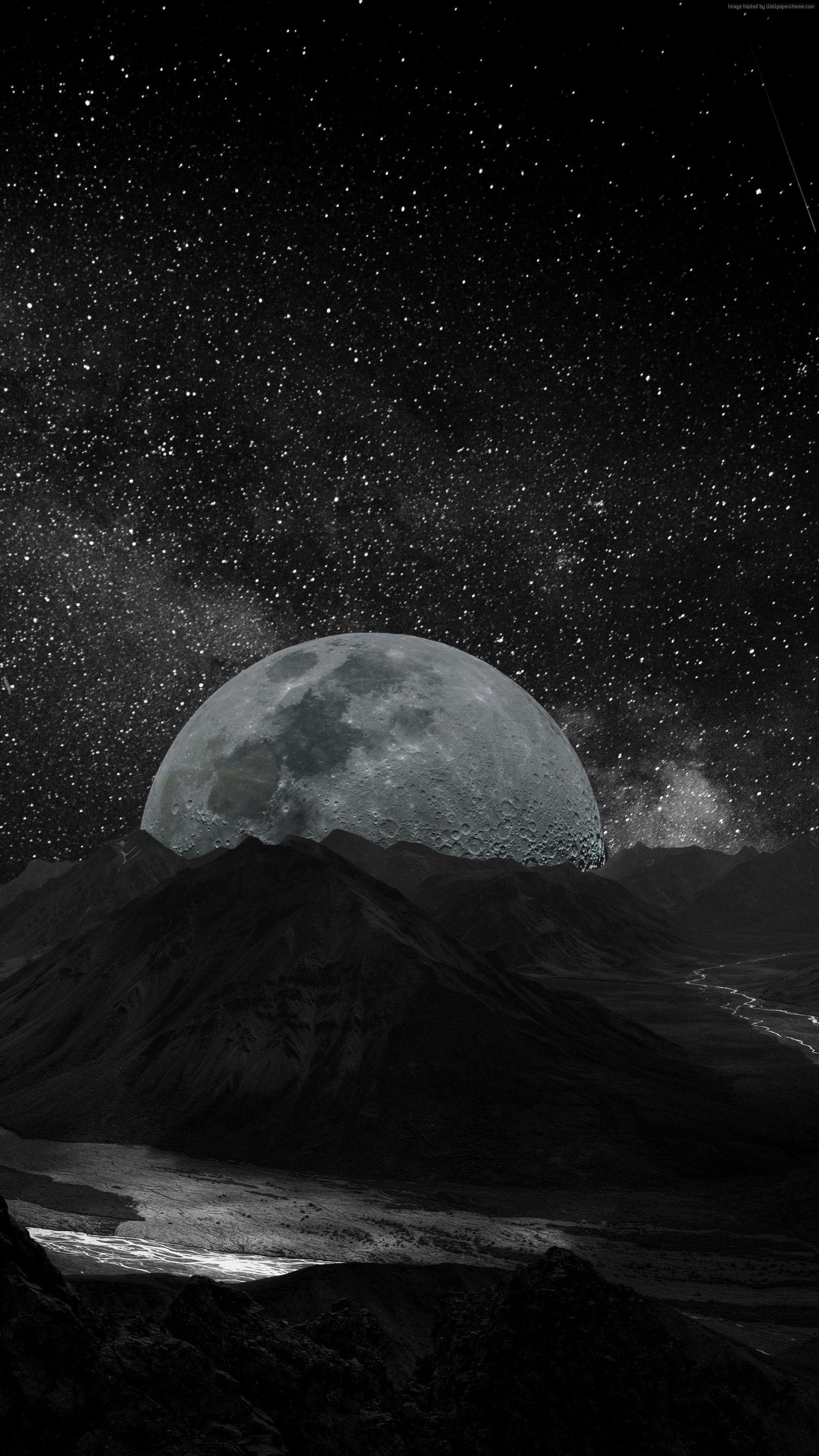 Wallpaper moon 5k, milky way, space